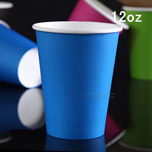 Astra Gourmet 98 Count Hot/Cold Party Paper Cups, 12 Ounce, Multiple Colors (Blue)