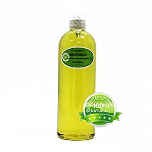Organic Pure Carrier Oils Cold Pressed 16 Oz/1 Pint (Grapeseed Oil)