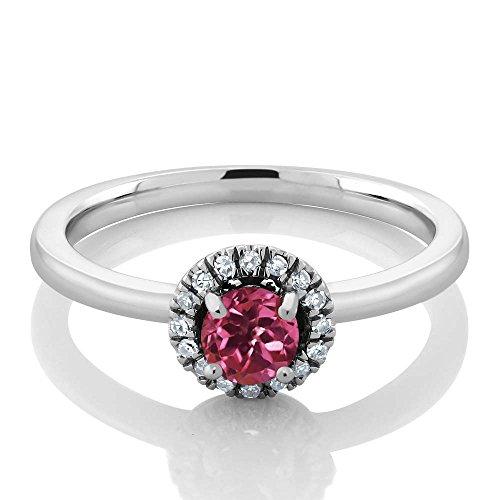 White Gold Pink Tourmaline Ring (0.32 Ct Round Halo Pink Tourmaline and White Diamond 18K White Gold Engagement Ring)