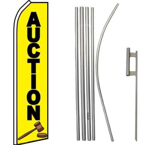 Moon Auction Yellow Swooper Super Flag & 16ft Flagpole Kit Ground Spike - Vivid Color and UV Fade Resistant - Prime Outside Garden Home Decor