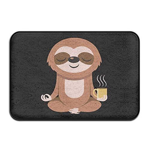 Xinjinhon Apartment Heavy Duty Pretty Doormat, Yoga Sloth Coffee Black, Indoor Non Slip Front Door Mat Entryway Rug for Home Decor