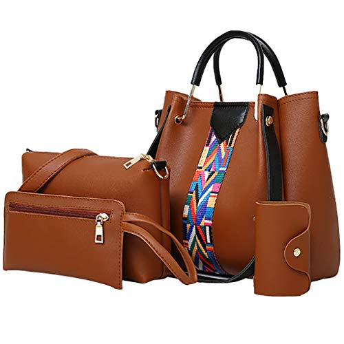 ♖Loosebee♜ Women Fashion Synthetic Leather Handbags+Shoulder Bag+Purse+Card Holder 4pcs Set Tote Brown