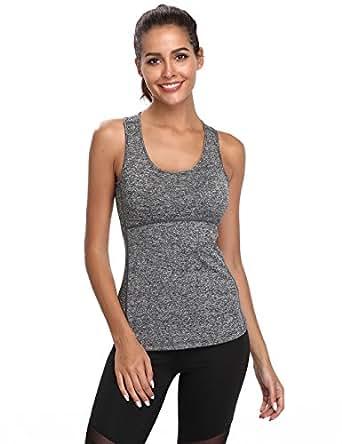 Tank Tops Women Recerback Loose Fit Workout Summer Running Plus Size Sleeveless Under Shirts(Grey#1,S)
