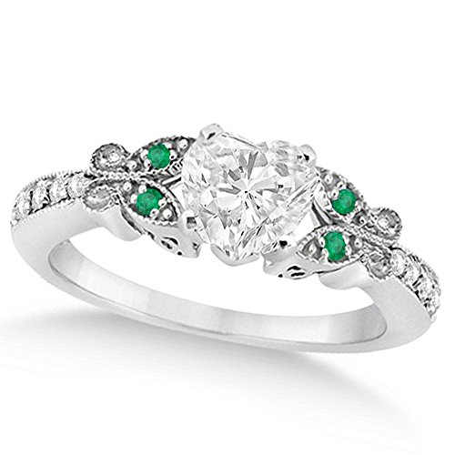 Butterfly Heart Shaped Diamond and Emerald Engagement Ring 14k White Gold (1.00ct)