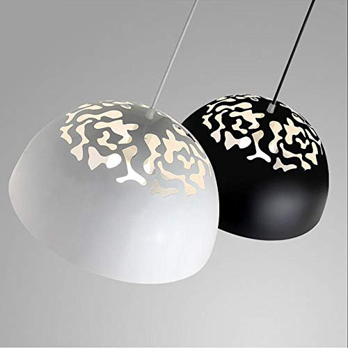 Personality Creative Northern Europe Style Retro Single Head Iron Art Pot Cover Chandelier/Pendent Lamp Restaurant Openwork Lamps Black White a Set of Two Decoration Lamps, - Openwork Single Wall