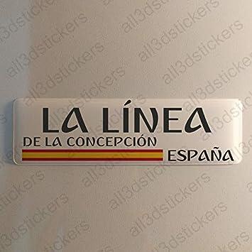 Pegatina La Linea de la Concepcion España Resina, Pegatina Relieve 3D Bandera La Linea de la Concepcion España 120x30mm Adhesivo Vinilo: Amazon.es: Coche y moto