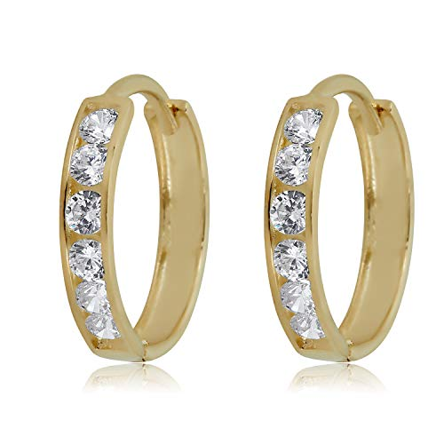 AVORA 10K Gold Channel Set Simulated Diamond CZ Huggie Hoop Earrings In Yellow Or White Gold