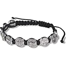 Silver Tone Saint Benedict Medal on Adjustable Black Cord Wrist Bracelet, 8 Inch