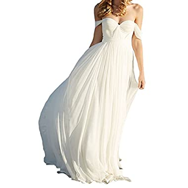 Lovelybride Elegant a Line Empire Long Chiffon Bridal Beach Wedding Dress (8, White)