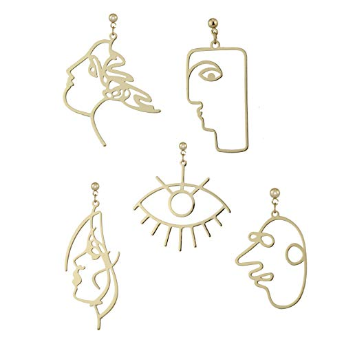 5 Pairs Modern Abstract Art Face Earrings Set Geometric Human Face Fashion Design Dangle Earrings ()
