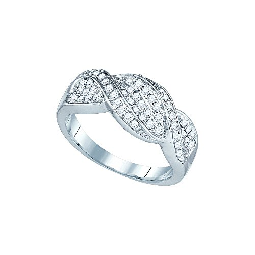 Crossover Jewel (14k White Gold Womens Round Diamond Crossover Band Ring 1/2 Cttw (I1-I2 clarity; H-I color))