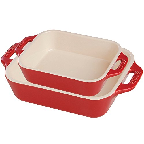 Staub Ceramic Rectangular Baking Dish Set, Cherry (2-Piece)