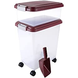 IRIS USA, Inc. 3- Piece Airtight Pet Food Storage Container Combo, Brown