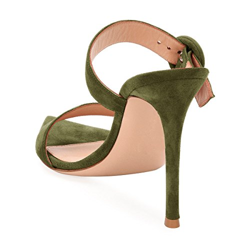 FSJ Women Fashion Slip On Mules Faux Suede High Heels Sandals Open Toe Stilettos Shoes Size 4-15 US Olive Green