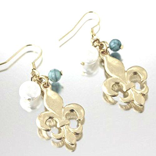 Gold Tone Fleur De Lis dangling fish hook earrings. (Designer De Fleur Lis Earrings)