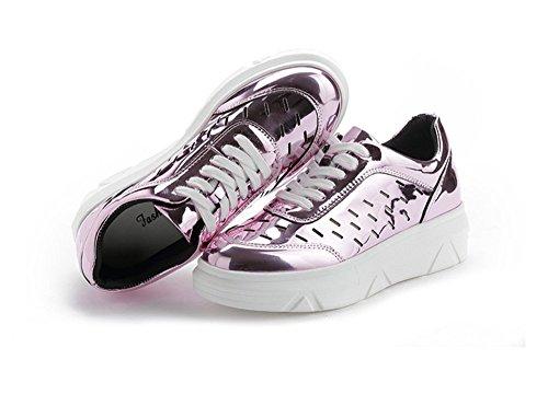 Bininbox Zapatillas Con Cordones Para Mujer Zapatillas Con Plataforma Hollow Out Rosa