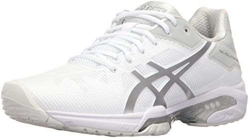 ASICS Women's Gel-Solution Speed 3 Tennis Shoe, White/Silver, 8 M US by ASICS