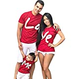 KFSO Valentine's Day Family Matching Clothes Set,Women Men Boys Girls LOVE ME Print Short Sleeve Summer Tops T-Shirt (Baby, 2-3 Years)