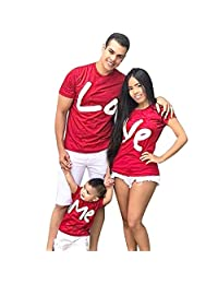 Family Matching Red Letter T-Shirts, Women Men Boys Girls Lo Ve Me Short Sleeve Funny Tee Tops for Valentine's Day