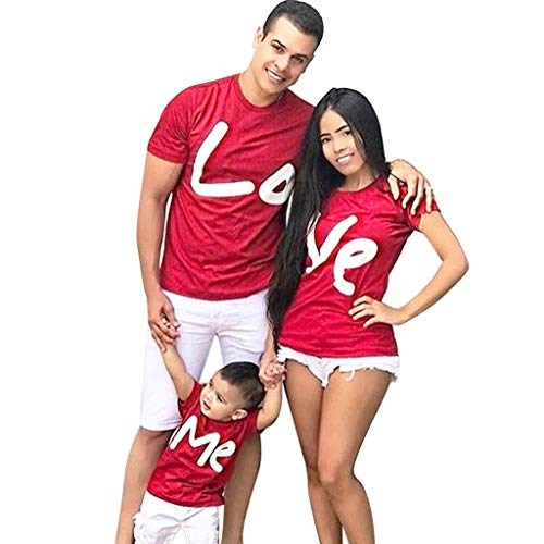 WensLTD Family Matching Clothes Parent-Child Short Sleeve Valentine Letter Print Pullover Blouse T-Shirt Tops Family Clothes (3-4Years, Red-Girls/Boys) -