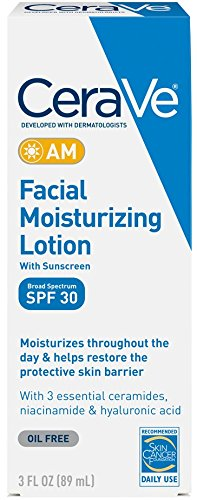 CeraVe AM Facial Moisturizing Lotion SPF 30 3 oz with Broad Spectrum protection, Hyaluronic Acid and Ceramides for Daytime Use Facial Sunscreen