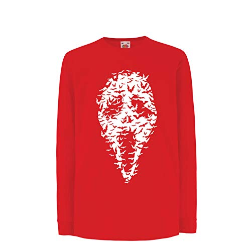 lepni.me Kids T-Shirt Ghost Scary Face Bats, Halloween Party Costume (5-6 Years Red Multi Color) -