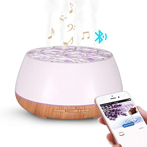 400ml Wood Grain Ultrasonic Aroma Essential Oil Diffuser with Bluetooth Wireless Music Speaker Timer Aromatherapy Air Humidifier,White