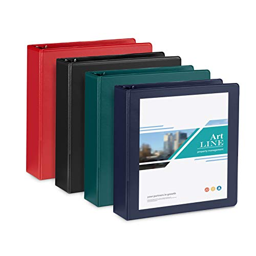 4 Pack 2'' 3-Ring Binders, Rugged Design for Home, Office, and School, Designed for of 8.5'' x 11'' Paper, Black, Navy, Red, Green, 4 Binder Assorted Pack