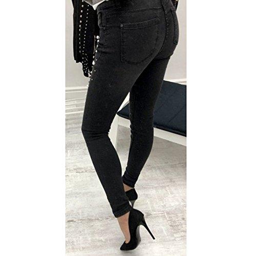 Balck Perla Stretch Donna Slim Cheyuan Vita Alta Denim Pantaloni Jeans Aderenti IvwwqZP