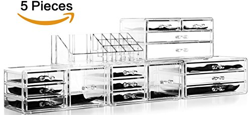 Felicite Home Acrylic Jewelry and Cosmetic Storage Makeup Organizer Set, 5 Piece,Large