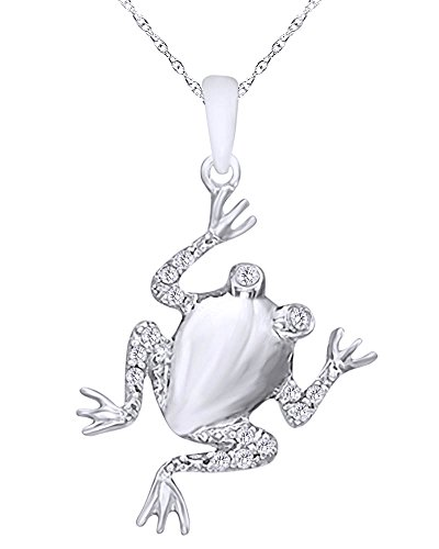Wishrocks 1/10 CT Round Cut White Natural Diamond Frog Pendant Necklace in 14K White Gold Over Sterling ()