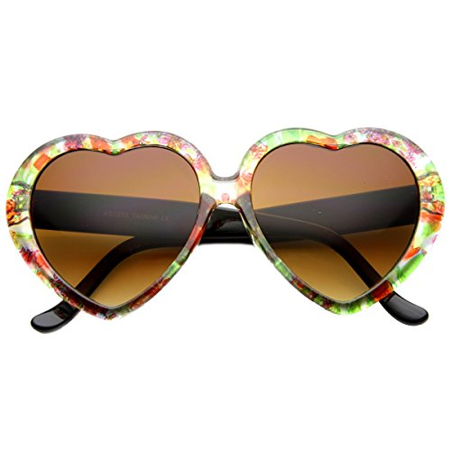 zeroUV - Cute Womens Floral Print Heart Shape Oversize Sunglasses (Clear-Red-Green Amber)