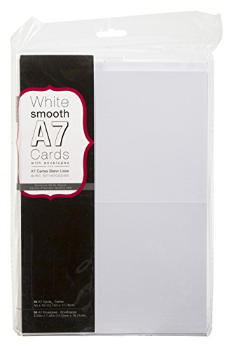 "Darice 110366 Heavyweight A7 Cards W/Envelopes (5.25""X7.25"") 50/Pkg, White"