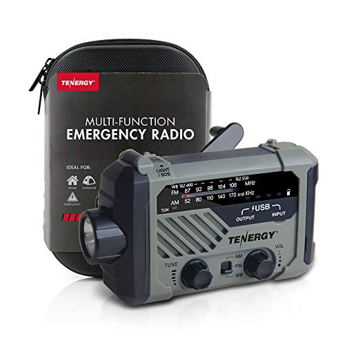 Tenergy Multifunctional Hand Crank Weather Radio with LED Flashlights, SOS Alarm, Cell Phone Charger, AM/FM/NOAA Radio Frequencies, Ideal for Emergencies