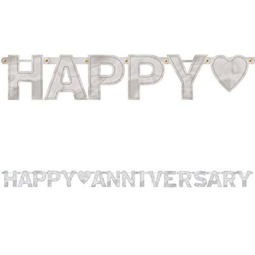 Happy Anniversary Silver - Large Foil Letter Banner