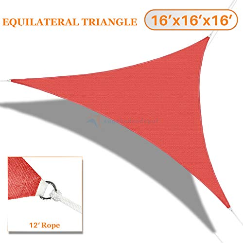 TANG Sunshades Depot 16'x16'x16' Sun Shade Sail 180 GSM Equilateral Triangle Permeable Canopy Red CustomSize Available Patio Garden Preschool Kindergarten Playground Outdoor Facility Activities