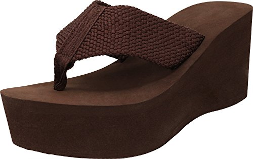 Brown Rubber Thong - Cambridge Select Women's Comfy Platform Flip Flop Sandal (7 B(M) US, Brown)