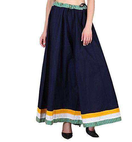 - Shararat Women's Palazzo Pants Cotton Loose Flared Wide Leg Free Size Sharara Navy Blue