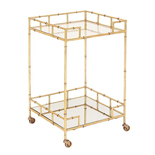 Modern Bar Cart (Urban Designs 7727556 Gold Leaf 2-Shelf Square Metal Mirror Mobile bar Cart)