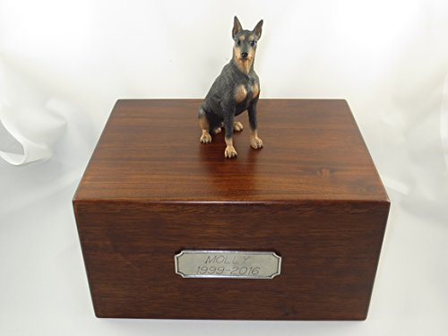 Beautiful Paulownia Large Wooden Urn with Black Doberman Pincher Figurine & Personalized Pewter Engraving ()