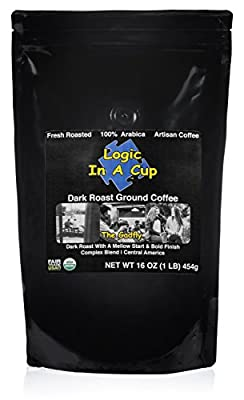 Super Strength Dark Roast Ground Coffee Certified Organic & Fair Trade by Logic In A Cup Beans from Central America Enjoy a Fresh Mug of Coffee at Home The Gadfly