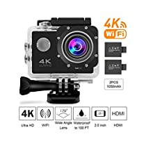 DEFWAY Action Camera 4K Waterproof Cam - Full HD 170 Degree Wide Angle Lens WiFi Sport Camera with 2 PCS 1050mAh Batteries and 18 Accessories Kits