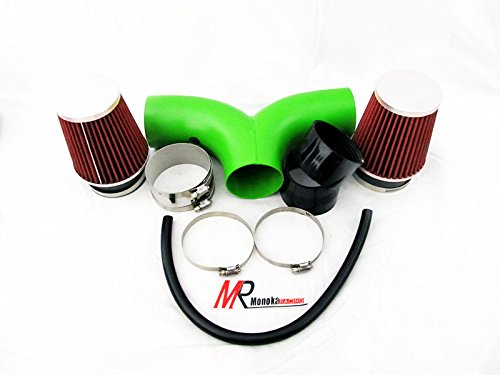 2004 2005 2006 2007 2008 2009 Dodge Durango All Model with 4.7L V8 Engine Green Piping Short Ram Dual Air Intake System Kit with red Filter by Monoka Racing