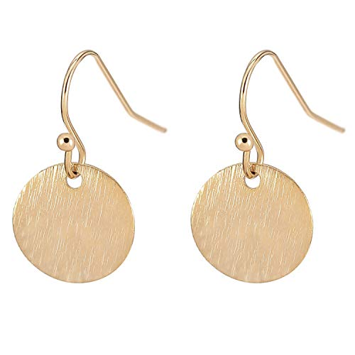 - 18K Gold Circle Drop Earrings Small Round Hoop for Women Minimalist Jewelry for Girls
