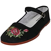 Shoes 18 Womens Cotton China Doll Mary Jane Shoes Ballerina Ballet Flats 114 Black Emb 9