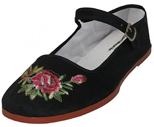 Embroidered Mary Jane - Shoes 18 Womens Cotton China Doll Mary Jane Shoes Ballerina Ballet Flats 114 Black Emb 9