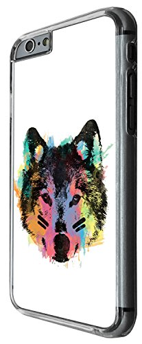 1489 - Cool Fun Trendy wolf colourful animals wildlife woods whimsical (2) Design iphone 4 4S Coque Fashion Trend Case Coque Protection Cover plastique et métal - Clear