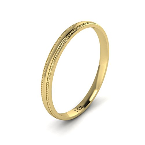 Unisex 14k Yellow Gold 2mm Light Court Shape Comfort Fit Polished Wedding Ring Milgrain Band (Yellow Gold Milgrain Ring)
