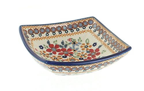 Blue Rose Polish Pottery Red Daisy Small Square -