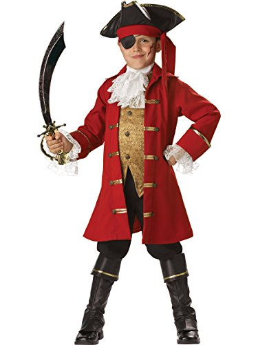 In Character Costumes, LLC Boys 2-7 Pirate Captain Vest Set, Red, 6 (Purim Characters)
